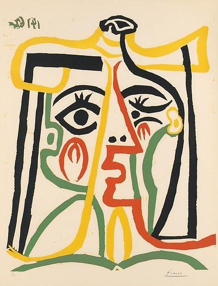 By Pablo Picasso (1881–1973), 1962, Jacqueline in a straw hat, Linoleum cut.