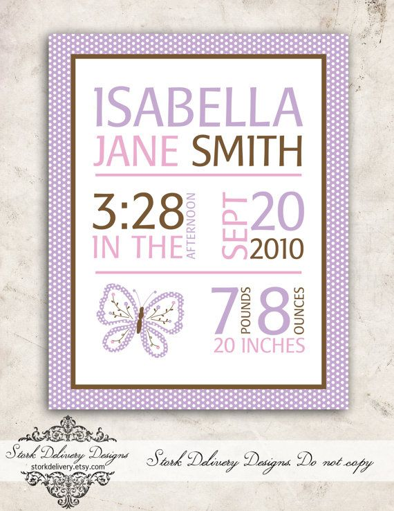 Purple Butterfly Baby GIrl Nursery Wall Art  by StorkDelivery, $10.00