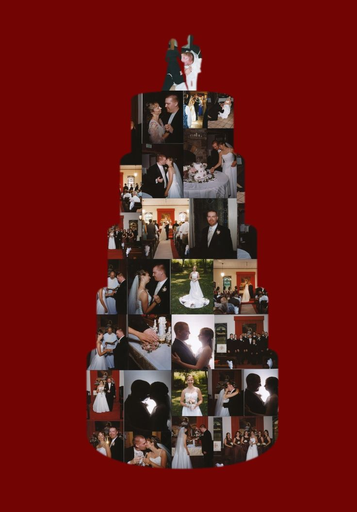 Good idea! Scott's wedding cake collage for 10th anniversary.   Collage.com, create collages online and share for free and order poster or canvas online.