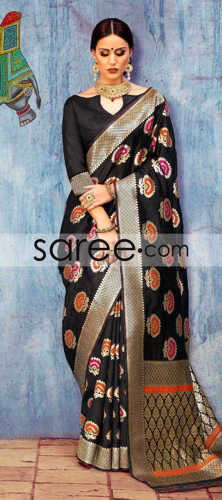 BLACK SILK SAREE WITH WEAVING #Saree #GeorgetteSarees #IndianSaree #Sarees #SilkSarees #PartywearSarees #RegularwearSarees #officeWearSarees #WeddingSarees #BuyOnline #OnlieSarees #NetSarees #ChiffonSarees #DesignerSarees #SareeFashion