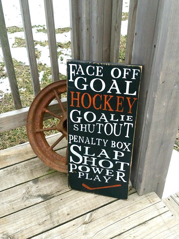 Wooden Hockey Sign - Distressed Sports Wall Decor - Mancave - Boys Room Decor - Wood Playroom Sign - Goalie - Slap Shot - Goalie - Sport by RusticLaneCreations on Etsy https://www.etsy.com/listing/218021823/wooden-hockey-sign-distressed-sports
