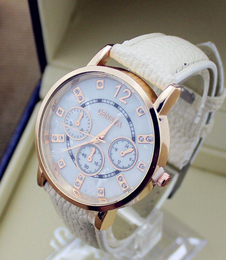 Luxusné pánske hodinky Geneva v bežovej farbe