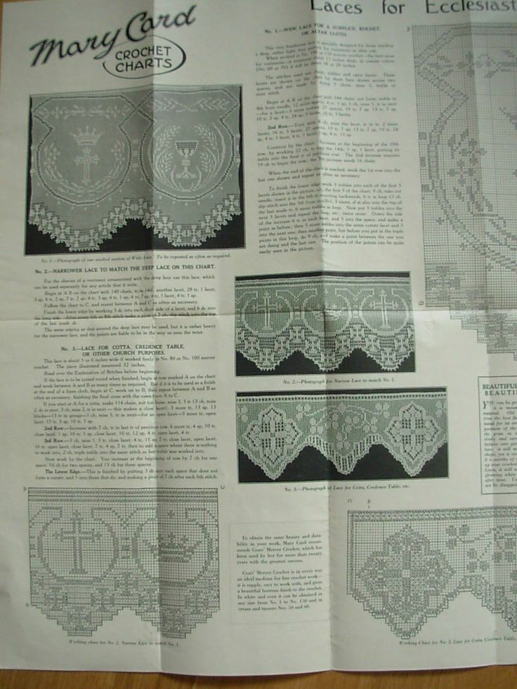 Antique Mary Card Crochet Chart No 78 Laces for Ecclesiastical Purposes | eBay