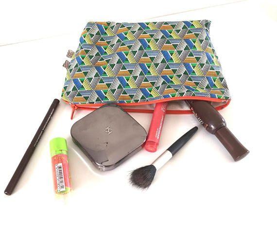 Trousse à maquillage tissu africain wax