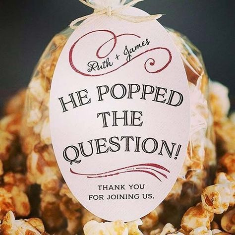 Popped The Question Popcorn Prize Favor Idea For Bridal Shower
