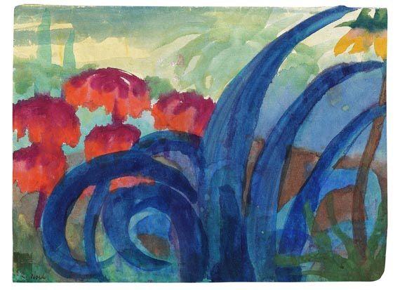 """terminusantequem: """" Emil Nolde (German, 1867-1956), Agaven und Kaiserkronen, 1925. Watercolour, 35 x 47,5 cm ( 13,7 x 18,7 in) """""""