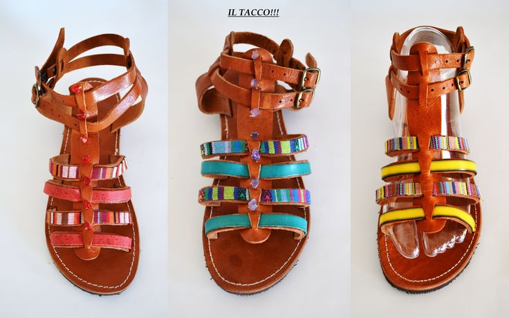 Handmade Greek Leather Gladiator Sandals, Braids, Colourful, Beads!!! Il Tacco!!!