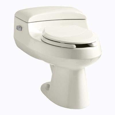 Kohler San Raphael Comfort Height One-Piece Elongated 1.0 GPF Toilet with Pressure Lite Flushing Technology, Includes Seat Finish: Biscuit