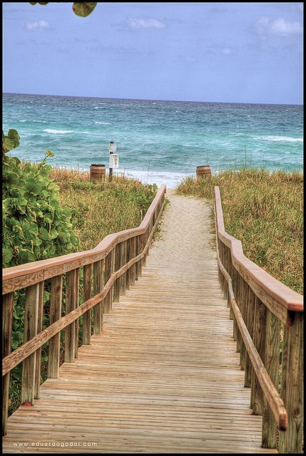 Delray Beach, Florida board walk to the ocean.