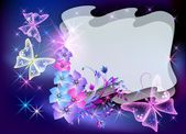 Glowing transparent flowers and butterfly — Stock vektor