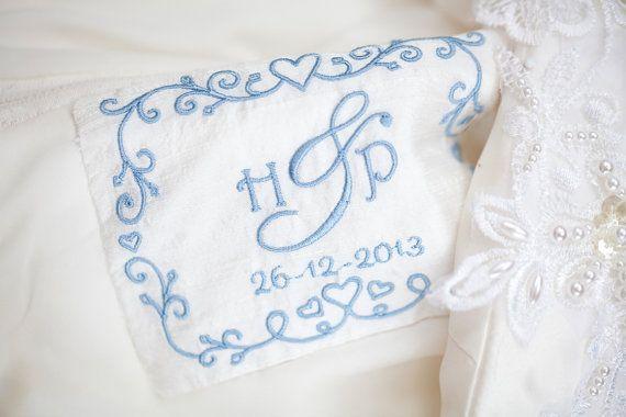 Gepersonaliseerde jurk Label - iets blauw Ideal - sentimentele bruid huwelijksgeschenk