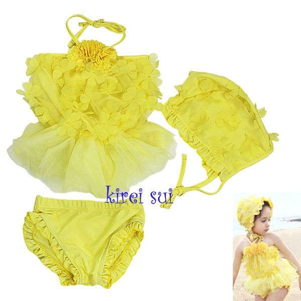 Kirei Sui Gele Bikini/Tankini met Bloemetjes en Tuturokje