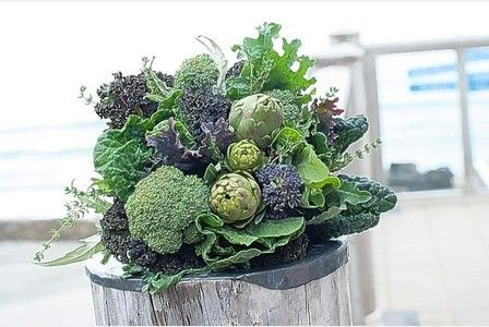 The vegetable bouquet, with kale, globe artichokes, broccoli and other healthy options- could put some herbs in there too!