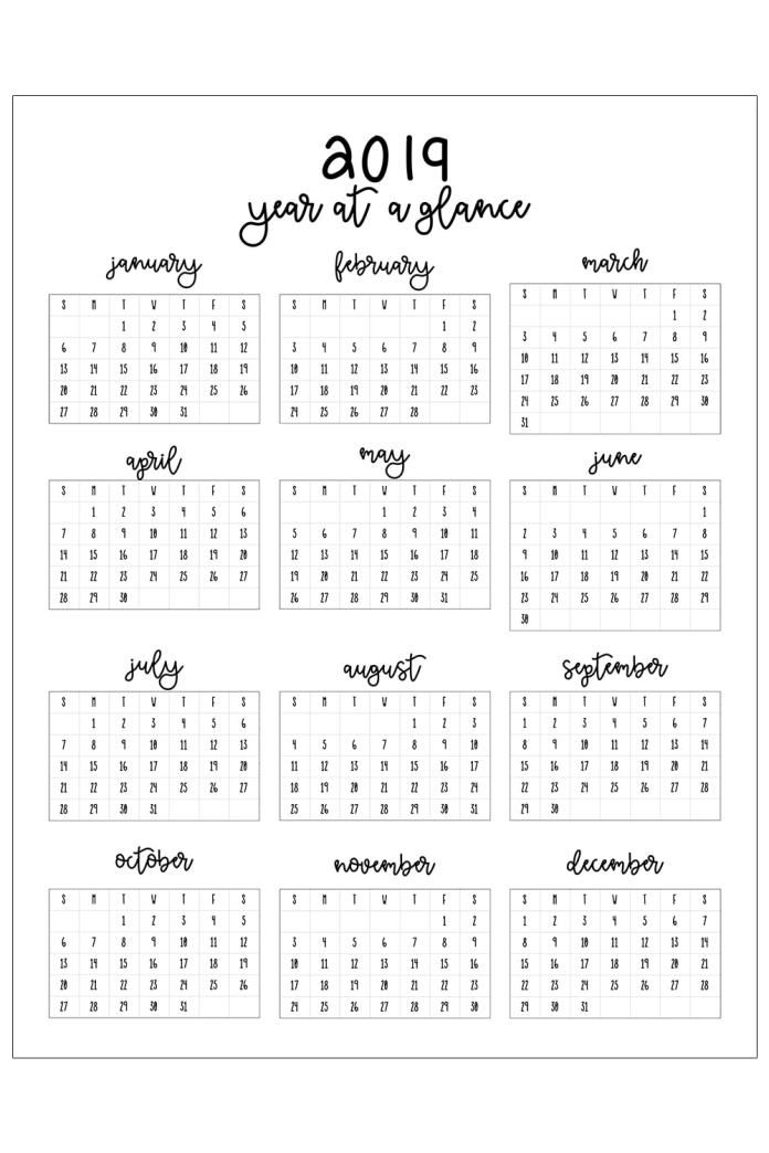 2019 Printable Calendar Free Printables Printable yearly