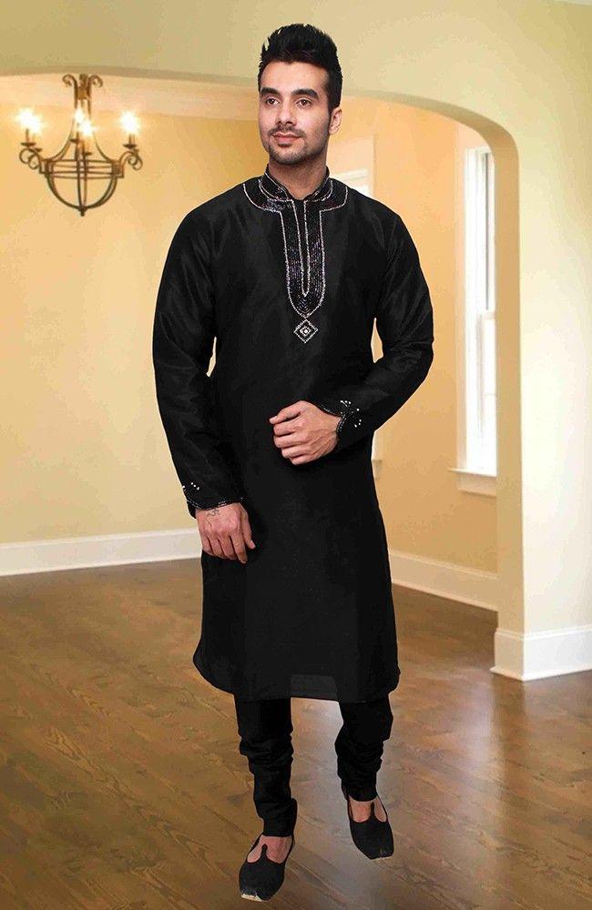 Majestic Black Kurta Pyjama set