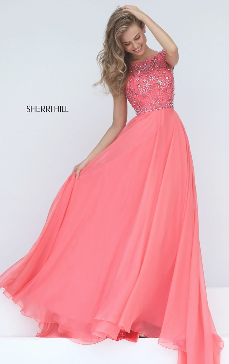 2017 Beading Sherri Hill 50849 Coral Cap Sleeves A-line Prom Dresses Long