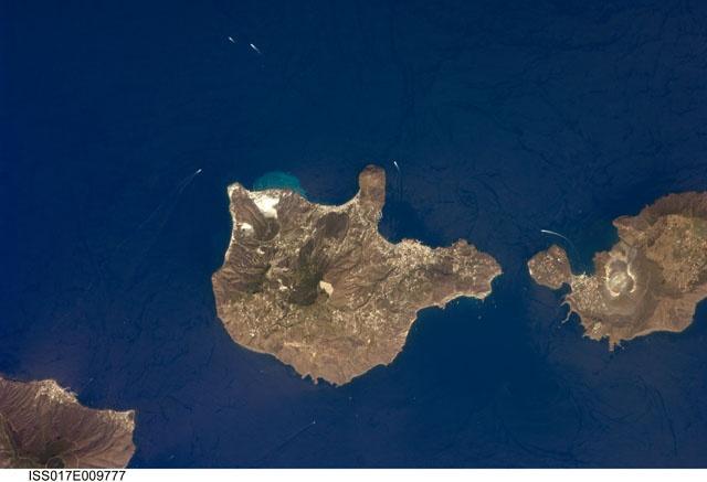 "Lipari island and Vulcano Island - Aeolian Isles - Province of Messina - Sicily  Source: Image Science and Analysis Laboratory, NASA-Johnson Space Center. ""The Gateway to Astronaut   Photography of Earth."""
