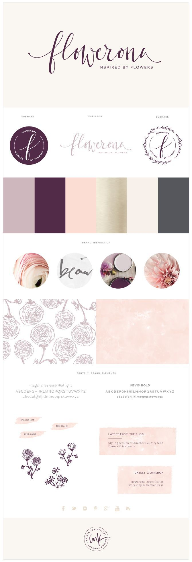 Brand Launch: Flowerona | brand design by Salted Ink | calligraphy, hand drawn, hand written, hand lettered