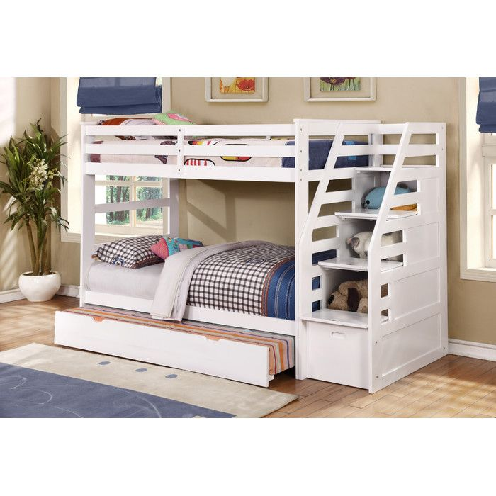 Wildon Home ® Twin Over Twin Standard Bunk Bed with Trundle and Storage Step | Wayfair