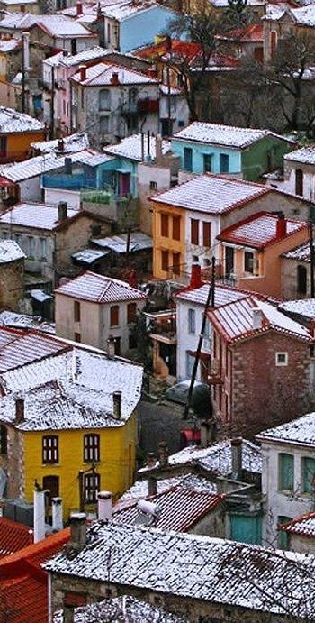 Snowy Agiasos, Lesvos Island, Greece