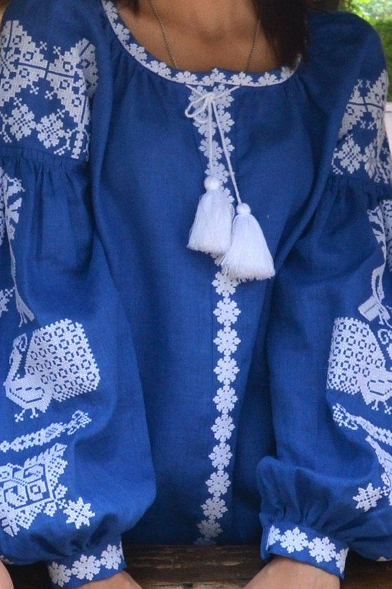 Amazing blue linen women/'s embroidered  blouse from Ukraine Vishivanka