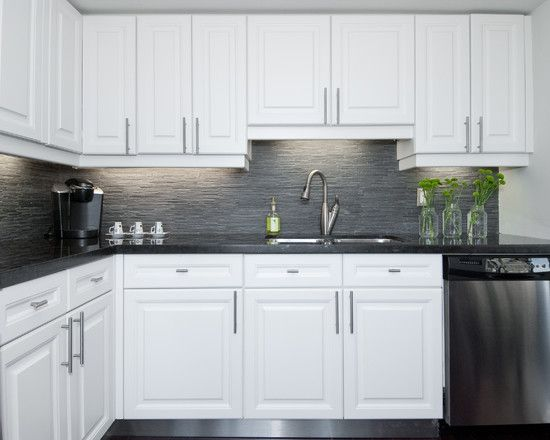 Modern artistic condo applying white and gray condo theme for Contemporary l shaped kitchen designs