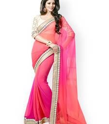 Buy Pink beautiful georgette embroidered sarees with unstitched blouse party-wear-saree online