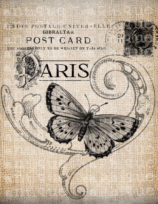 Antique French Butterfly Paris Postmark Digital Download for Tea Towels, Papercrafts, Transfer, Pillows, etc Burlap No 3305. $1,00, via Etsy.