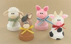 Clay Pot Farm Animals #craft