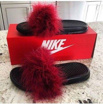 shoes slide shoes slippers nike fluffy red flip-flops nike sliders girl