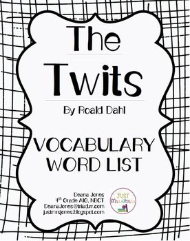 This is a Vocabulary Word List that aligns with my Comprehension Packet for The Twits by Roald Dahl.  It includes two vocabulary words for each day worth of reading in the novel, along with page numbers and student-friendly definitions. (20 words total)All my Vocabulary Word Lists follow this format.This product aligns with these other FREE products from my TPT store:The Twits Comprehension PacketThe Twits QuizThe Twits Final TestThe Twits Vocabulary Presentation