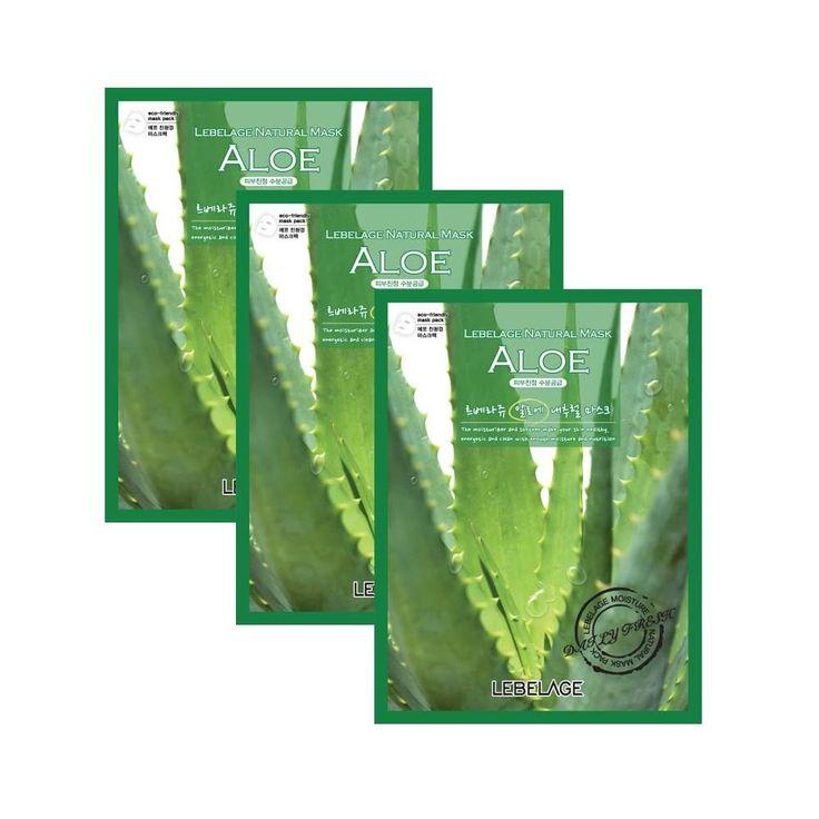 LEBELAGE Aloe Natural Facial Essence mask sheet pack Skin care 3pcs k-beauty #Lebelage