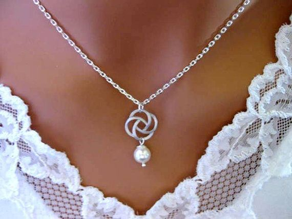 CELTIC KNOT Necklace Bridesmaid Gifts White or IVORY Pearl Sterling Silver Wedding Jewellery