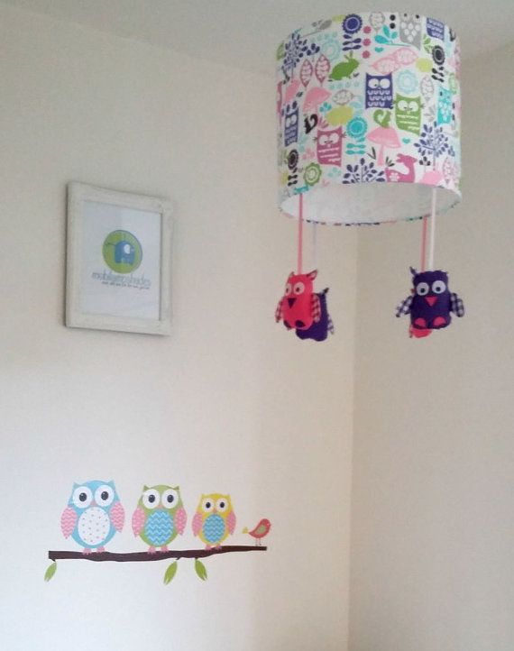 Owl children lampshade  Purple and pink nursery by mobilampshades