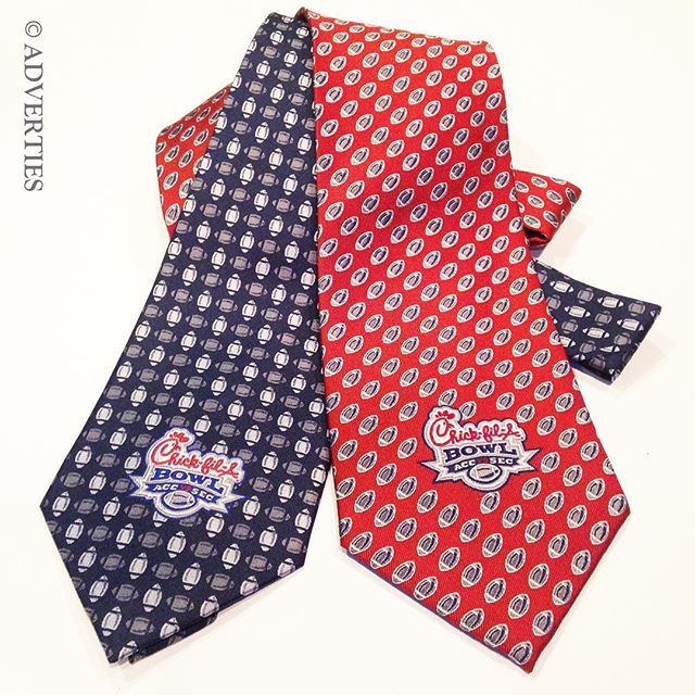 Who will be watching the Chick-fil-A Peach Bowl this weekend?  Custom neckties in silk woven with corporate logos are a great idea for special events.  @adverties @chickfila @cfapeachbowl  www.adverties.com #customneckties #customties #football #ChickfilA #Peachbowl #specialevents #corporategifts #promotionalproducts #restaurantuniforms #logowear