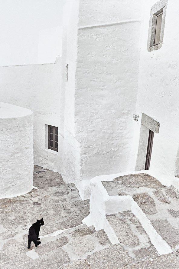 The streets of Chora on Patmos, Greek Islands