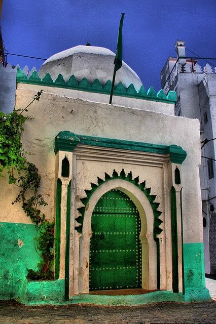 Tangier, Morocco insane beautiful green and white entry