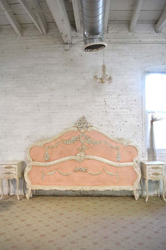 French Bed Painted Cottage Shabby Chic French Romantic Bed Queen / King
