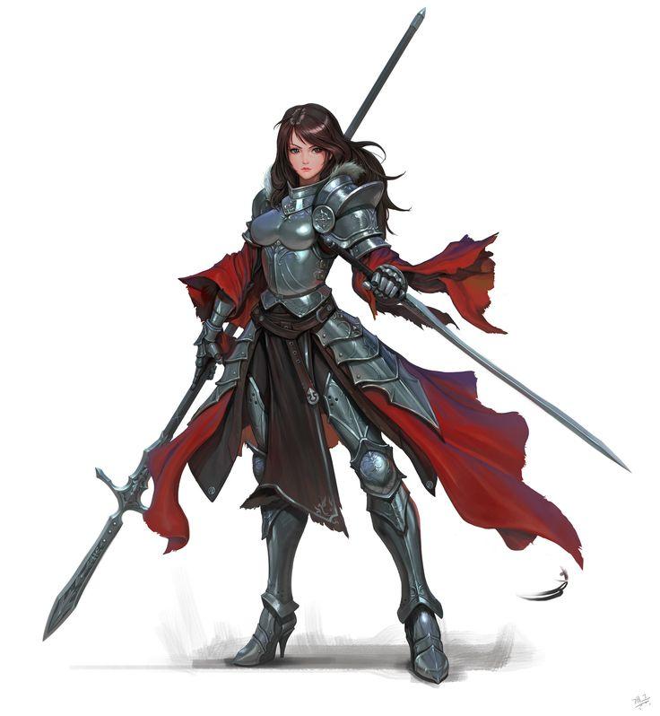 ArtStation - Spear_Knight, Daejun Park (Gae Go) - why do artists always give female knights impractical heels?!