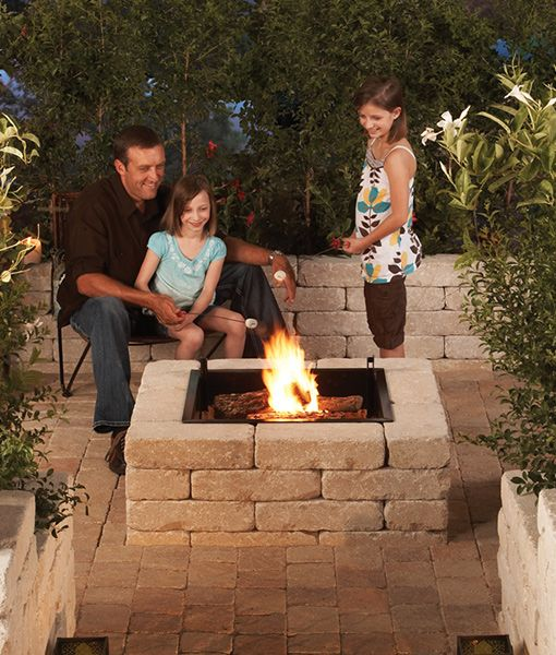 """If you're on a budget, try our economy square fire pit kit that includes a 24"""" fire pit insert and 32 stone blocks. Modular stone, wood burning fire pits."""