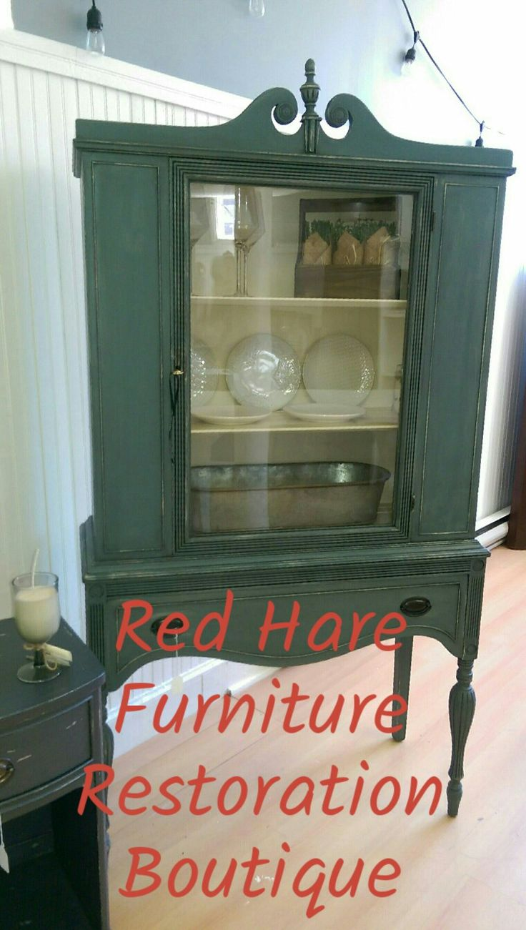So Excited To Present This Beautiful Vintage China Cabinet, It Is For Sale  At Tusk N Trunk , Warren , RI. It Is Finished In A Green Gray Chalk Paint  With A ...