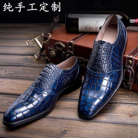 LUOANDA Goodyear handmade Italian leather shoes handmade men's blue crocodile leather sole paragraph