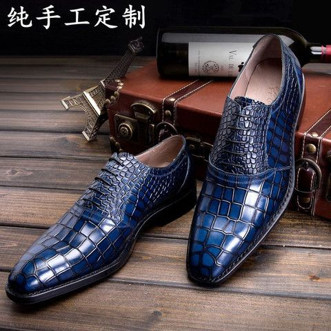 LUOANDA Goodyear handmade Italian leather shoes handmade men's blue crocodile leather sole paragraph