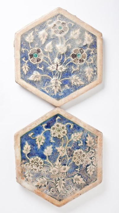 Tile | Origin: Greater Iran | Period:  14th-15th century | Collection: The Madina Collection of Islamic Art, gift of Camilla Chandler Frost (M.2002.1.261a-b) | Type: Ceramic; Architectural element, Fritware, molded and underglaze-painted, Diameter: 7 7/8 in. (20 cm); Depth: 9/16 in. (1.43 cm)