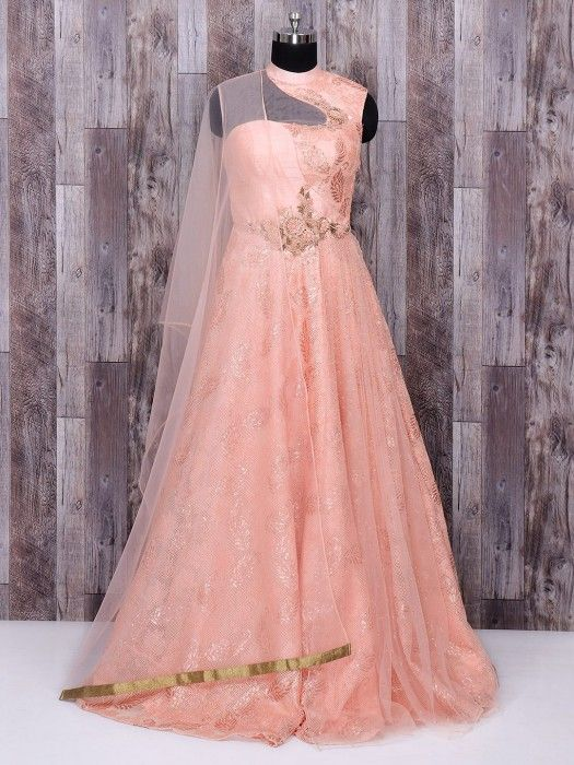 75c0073726 Designer Peach Color Silk Anarkali Suit