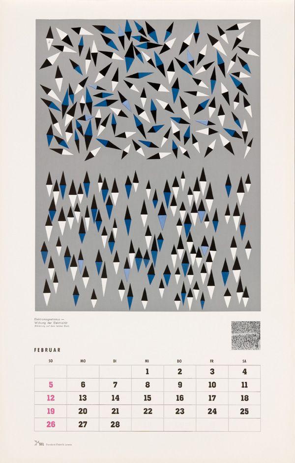 February - SEL Calendar 1961, illustration by Anton Stankowski