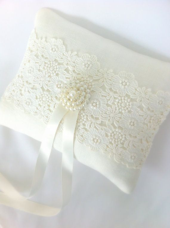 SOLD Bridal  Pillow , Classic  Ivory,  Vintage Lace