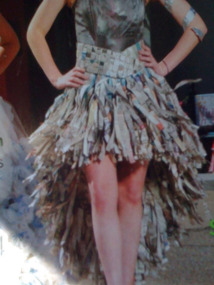 dress made from newspaper to promote recycling