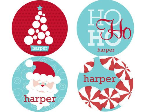 Personalized Mod Santa Personalized Stickers | Frecklebox | Frecklebox