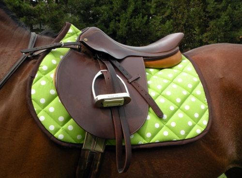 A fantastic lime green and white polka dot saddle blanket. If only i rode english more!